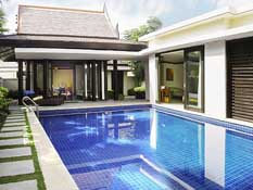 115 villas with swimming pools blending Thai, Myanmar and Nanyang styles in tropical gardens