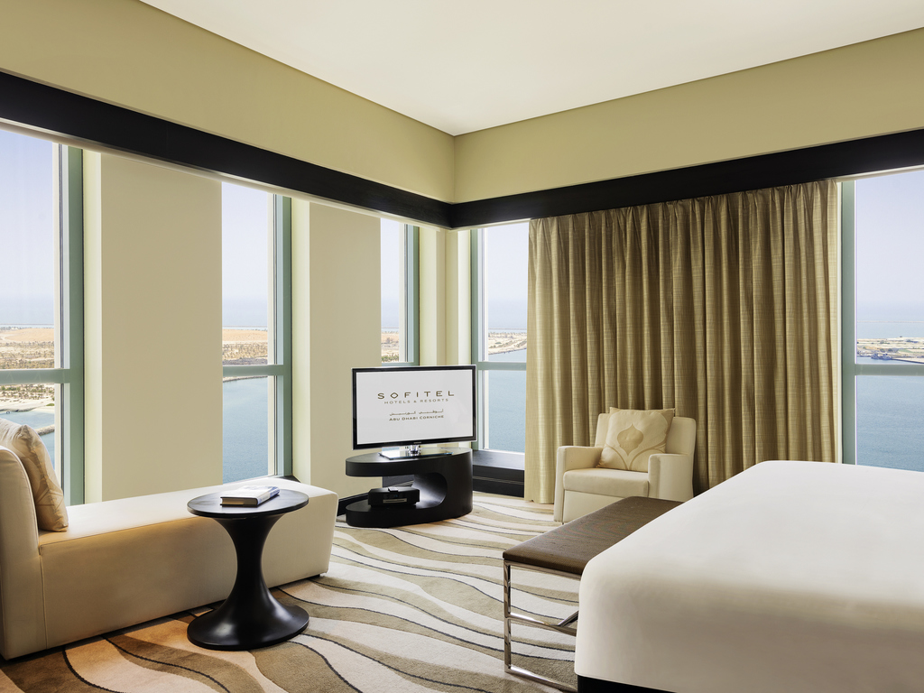 Gaze over the arabian gulf from sofitel abu dhabi corniche a skyscraping luxury 5 star hotel in abu dhabi with 280 rooms discover pan arabic opulence