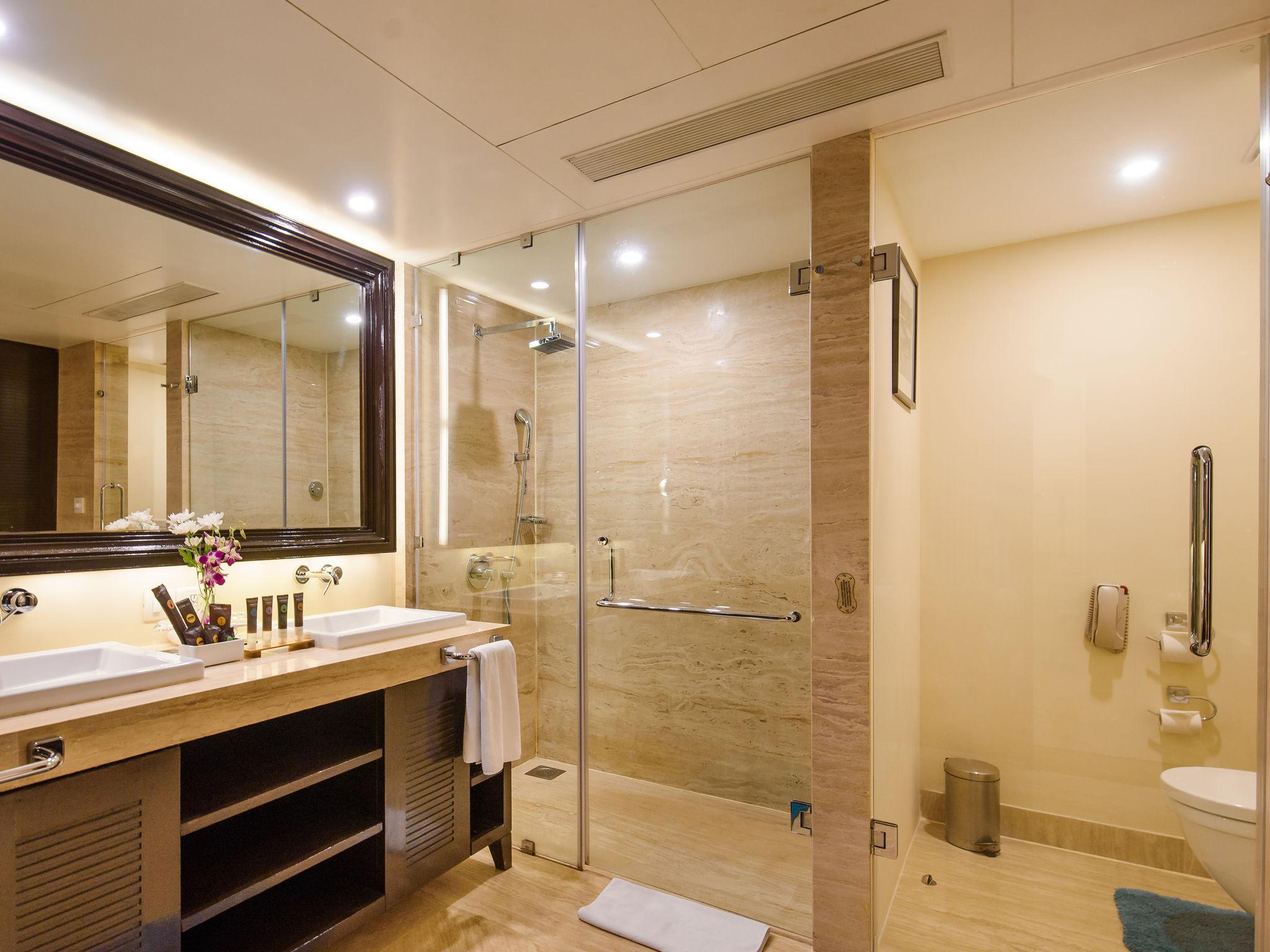 5-Star Shrem Resort-Novotel Goa Resorts & Spa on steam room bathrooms, swimming pool bathrooms, public pool bathrooms, outdoor pool bathrooms, beach bathrooms, gym bathrooms, spa bathrooms, golf bathrooms, restaurant bathrooms, gas station bathrooms, luxury pool bathrooms, hair salon bathrooms,